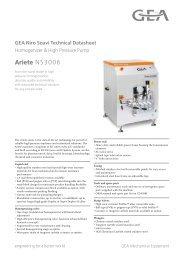 GEA Niro Soavi Ariete NS3006 Tech Sheets ENG