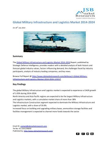 JSB Market Research: Global Military Infrastructure and Logistics Market 2014-2024