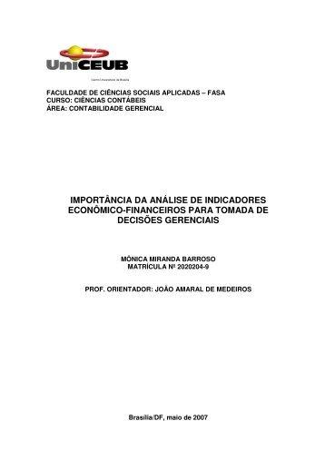 importância da análise de indicadores econômico-financeiros para ...