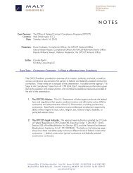 OFCCP Webinar Notes - Maly Consulting LLC
