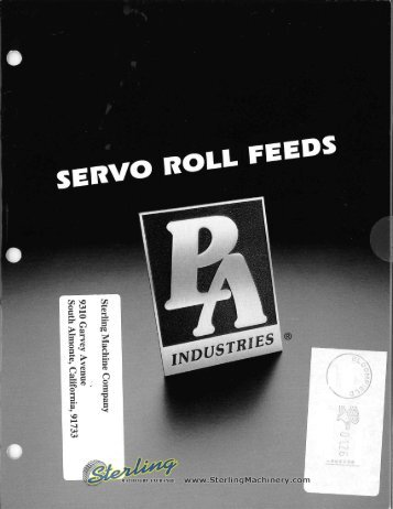 PA Industries Servo Roll Feeds Brochure - Sterling Machinery