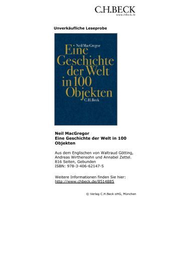 Neil MacGregor Eine Geschichte der Welt in 100 Objekten - C.H. Beck