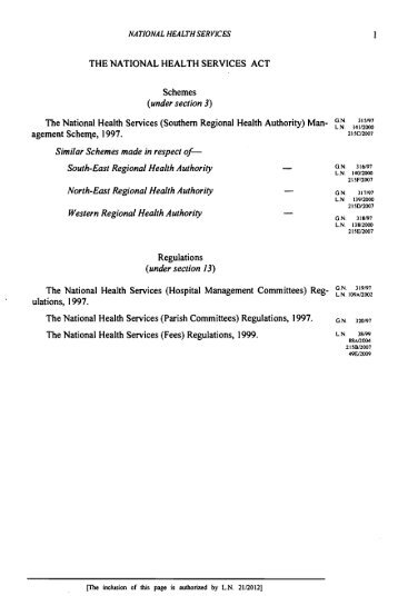 THE NATIONAL HEALTH SERVICES ACT Schemes (under section ...