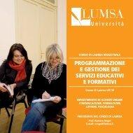 Programmazione e Gestione dei Servizi Educativi e ... - Lumsa