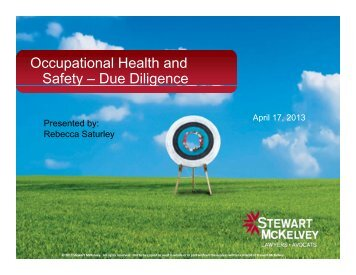 Occupational Health and Safety – Due Diligence ... - Stewart McKelvey