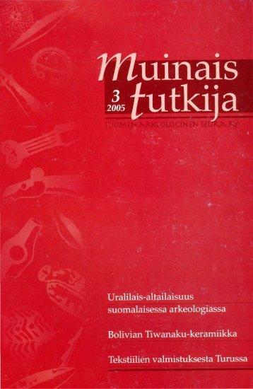 1 - Suomen arkeologinen seura ry.