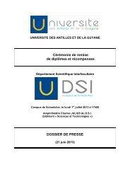 consulter le dossier de presse. - Université des Antilles et de la ...
