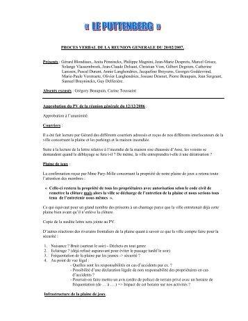 PROCES VERBAL DE LA REUNION GENERALE DU 20/02/2007 ...