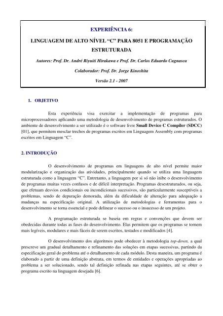 """experiência 6: linguagem de alto nível """"c"""" para 8051 e     - PCS - USP"""