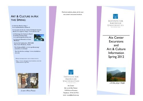 Aix Center Excursions and Art & Culture Information Spring 2012