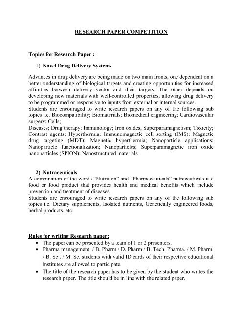 RESEARCH PAPER COMPETITION Topics for