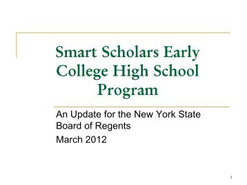 Smart Scholars Early College High School ... - Board of Regents