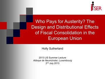 The Design and Distributional Effects of Fiscal Consolidation in ... - LIS