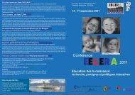 Conférence EECERA - septembre 2011 - flyer - Ville de Genève