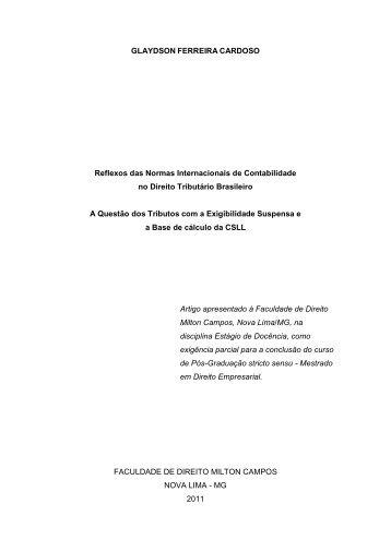 Reflexos das Normas Internacionais de Contabilidade no Direito ...