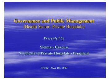 Governance and Public Management - Syndicate of Hospitals in ...