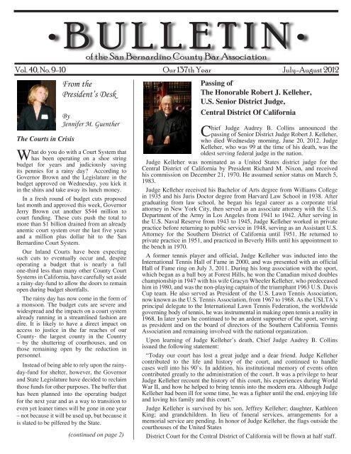July-August 2012 - San Bernardino County Bar Association