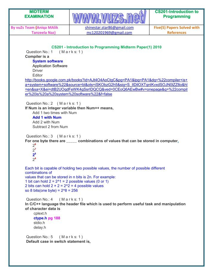 cs302 final term solved papers Acc501 business finance final term 2011 paper subjective by shiza princes.
