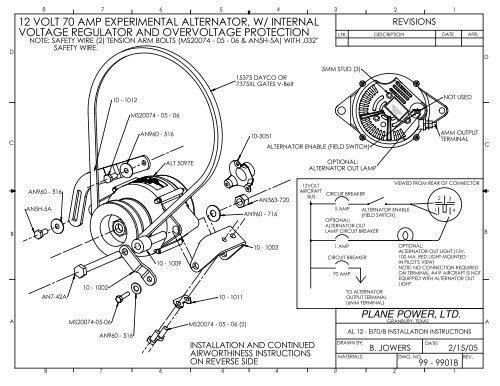 12 Volt 70 Amp Experimental Alternator W Internal Plane Power