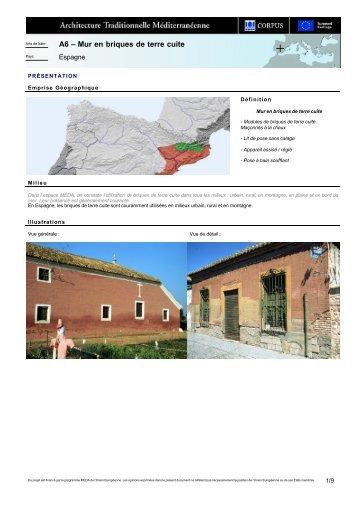 A6 – Mur en briques de terre cuite