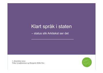Her finn du presentasjonen til Margrete Kilde Nes og Vidar ...