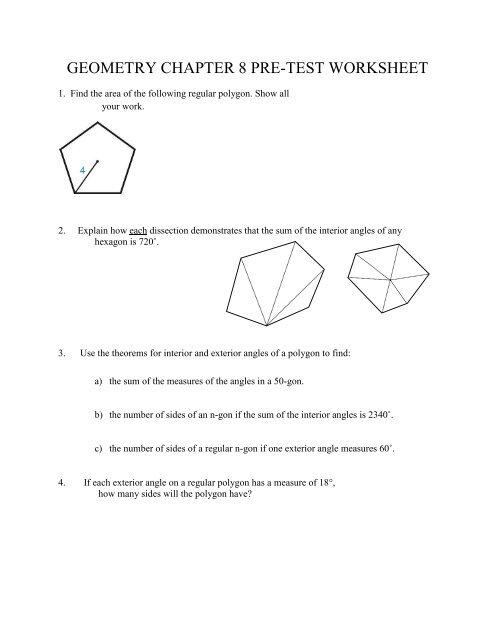 Geometry Chapter 8 Pre Test Worksheet