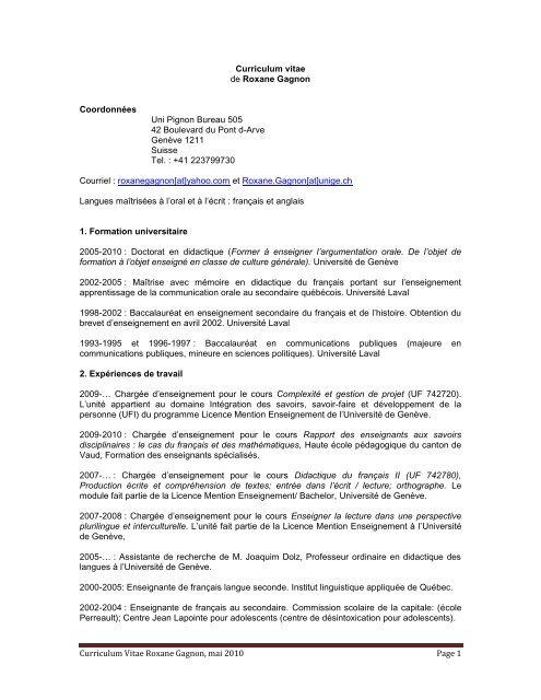 Cv R 1 Gagnon 2010 Pdf Université De Genève