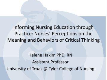 Informing Nursing Education through Practice: Nurses ... - IUPUI