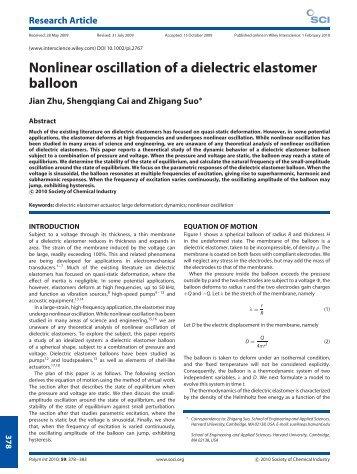 Nonlinear oscillation of a dielectric elastomer balloon - Wiley Online ...