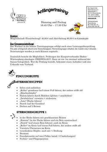 Details zu den einzelnen Gruppen im Anfängertraining - ESCR