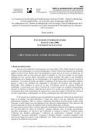 JEUDI 6 AVRIL 2006, 9h – 16h30 - Société Suisse d'Ethnologie