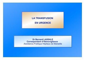 Transfusion en Urgences - SMUR BMPM