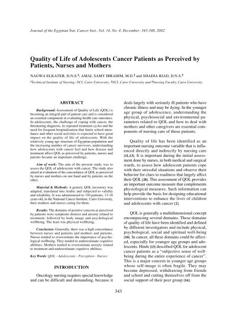 Quality of Life of Adolescents Cancer Patients as Perceived