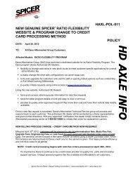 haxl-pol-011 new genuine spicer® ratio flexibility website & program ...