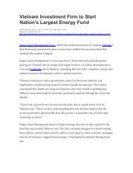 Vietnam Investment Firm to Start Nation's Largest Energy Fund