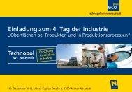 Einladung zum 4. Tag der Industrie - beim TFZ Wiener Neustadt