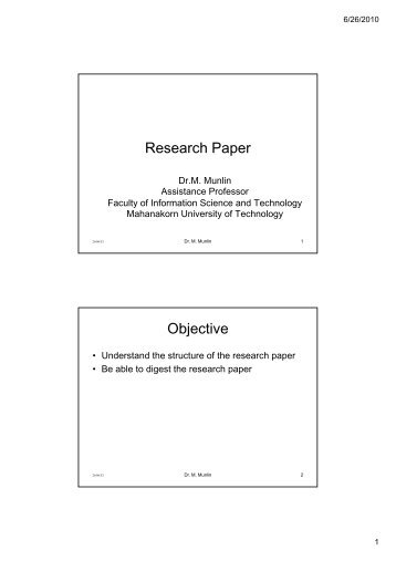 objective section of a research paper Objectives of the research ◦ methodology  research questions and objectives -  what you seek to achieve  many to deal with in depth in one research paper  question b is  section a statement of its study objectives.