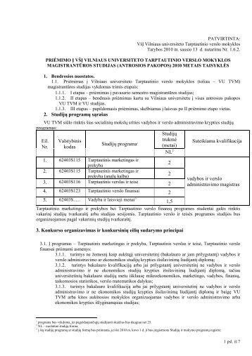 2. Studijų programų sąrašas Eil. Nr. Valstybinis kodas Studijų ...