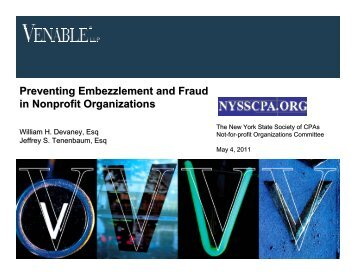 Preventing Embezzlement and Fraud in Nonprofit ... - Venable LLP