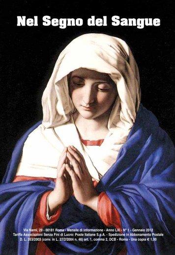Gennaio 2012 - Centro Studi Sanguis Christi