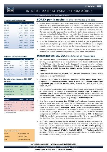 22/07/2013 Informe diario de mercados de Saxo Bank