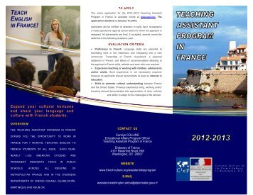 Brochure - Teaching Assistant Program in France 2012-2013