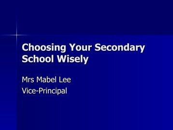 Choosing Secondary School Wisely