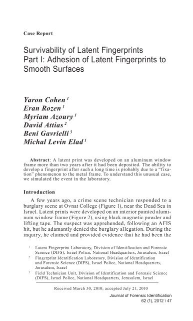 Adhesion Of Latent Fingerprints To Smooth Surfaces