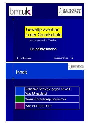 Gewaltprävention in der Grundschule Inhalt - Netzwerk TIROL | Für ...