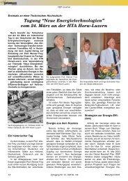 """Tagung """"Neue Energietechnologien"""" vom 24. März an der HTA ..."""