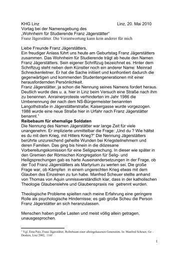 Referat von Dr.in Erna Putz am 20.5.2010 in Linz