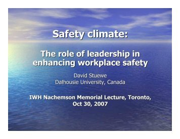 The Role of Leadership In Enhancing Workplace Safety - Institute for ...