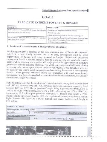 GOAL I ERaDICATE EXTREME PovERtv & HUNGER - UNDP Nigeria