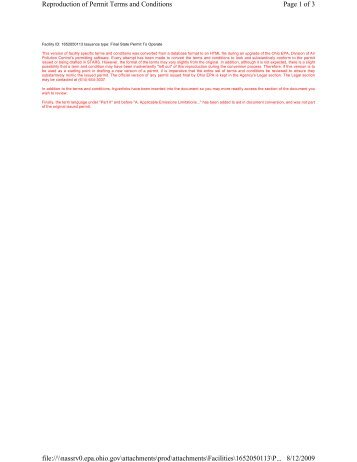 Page 1 of 3 Reproduction of Permit Terms and Conditions 8/12/2009 ...
